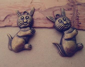 14pcs of  Antique bronze rabbit charm pendant  21mmx38mm