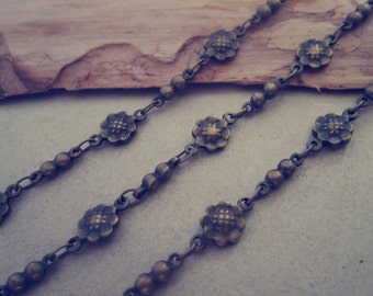 2m (6.6ft ) Antique bronze (copper) Flower  chains 6mm