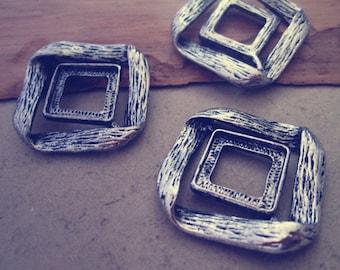 5pcs 14mm Antique Silver square Pendant Base
