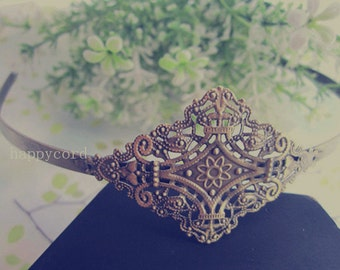 4pcs antique bronze  Headbands / hairbands with a filigree wrap base 36mmx56mm