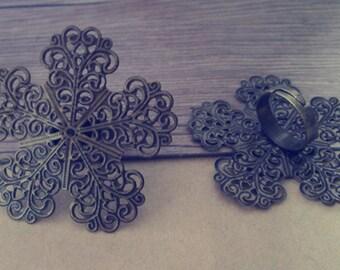 5pcs Adjustable antique bronze Flower shape Ring Tray Blanks 52mm