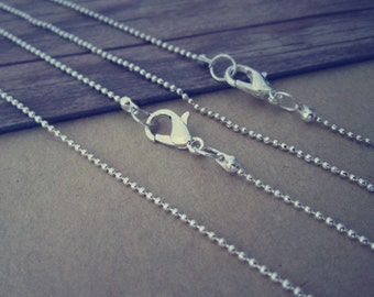 100pcs  1.2mm  30inch Silver color  ball necklace chain with Lobster Clasp