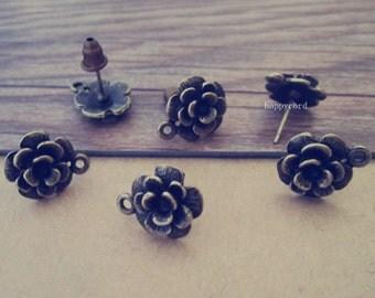 20pcs  antique bronze flowers hooks base 12mm