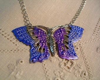 Hand Painted Filigree  Butterfly Necklace. Lavender and Blue.