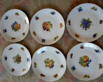 Vintage Dessert Plates Set of 6 Floral BOHEMIA / CZECHOSLOVAKIA  Fruit and Floral Luncheon Dessert Plates Free US Shipping
