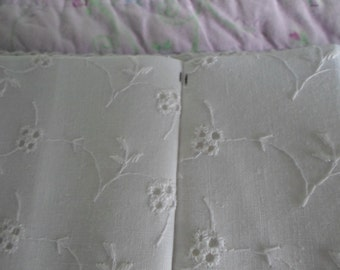 """White Floral Eyelet Pinch Pleat Drapery Panel 74"""" Wide x 32 1/2"""" Long"""