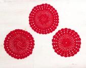 3 red crochet vintage ceasters