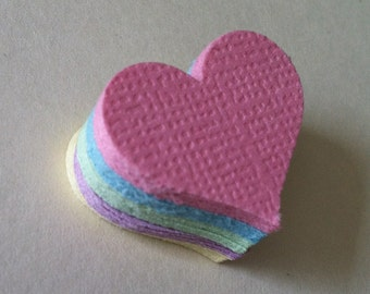 100 hand punched  hearts  - 1 inch  - textured pastels - wedding confetti - baby shower - table confetti