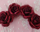 Queen Anais- Burgandy red roses flower crown with silver spikes