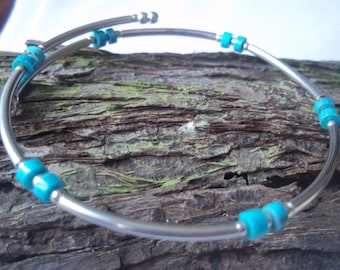 Turquoise & sterling silver bangle