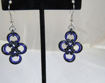 Purple and Black Japanese Cross Earrings
