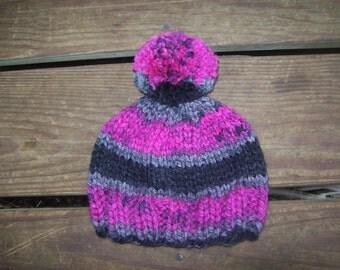 Hat,Newborn - 3 months,Boy,Boys,Girl,Girls,Infants,Gift,Hand Knit,Photo Prop,Gray,Black,Magenta