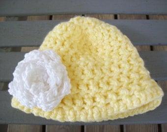 Crochet,Hat,Baby,Infant,Girls,Yellow,Flower,Photo Prop,Gift,Small, Newborn