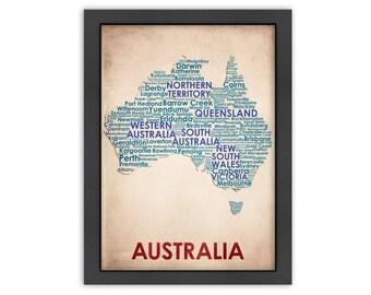 Australia Word Map, 100% Original Design from Flatiron Design