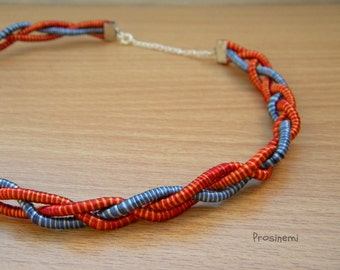 Silk wrapped cord necklace, blue red fibre boho necklace, eco friendly necklace