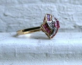 Vintage 10K Yellow Gold Ruby and Diamond Cluster Ring.