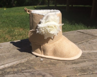 Tan Baby booties with cream flower/ Ugg like booties/ baby shoes