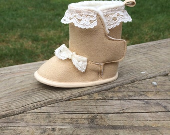 Lace trimmed Tan Baby booties/ Ugg like booties/ baby shoes