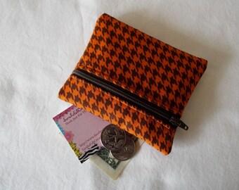 Coin Purse, Zipper Pouch, Change Purse, Wallet, orange, burnt orange, brown, houndstooth