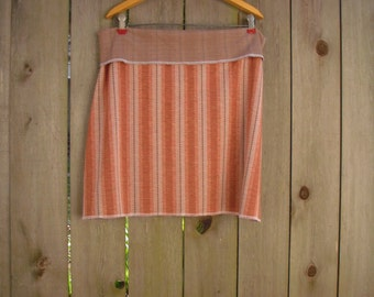 Herringbone Stripe Eco Aline Mini Skirt/ Funky Stretch Knit Mini Skirt Retro XL