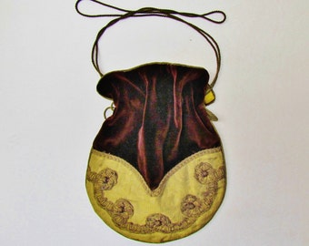 Antique velvet and metallic gold fabric drawstring purse, early 1900's velvet pouch bag