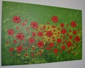 """Original abstract painting Acrylic Painting Modern Art by Carola -Flowers in red -  32"""" x 24"""" FREE SHIPPING"""