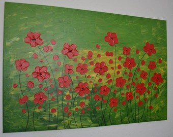 "Original abstract painting Acrylic Painting Modern Art by Carola -Flowers in red -  32"" x 24"" FREE SHIPPING"