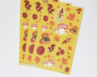 Autumn Stickers Fox Stickers Envelope Seals Mushroom Stickers Fall Leaf Stickers