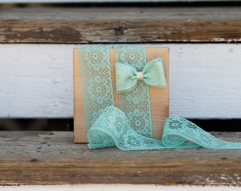 Aqua lace trim 5 yards