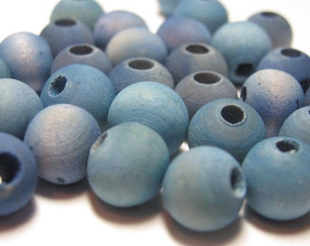 10 mm Round Hand Dyed Wooden Beads - Faded Blue