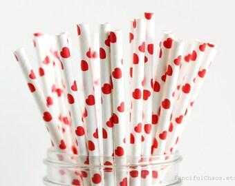 25 Red Hearts Paper Straws - Garden Partys, Wedding, Birthday, Baby Shower, Celebrations, Valentine's Day