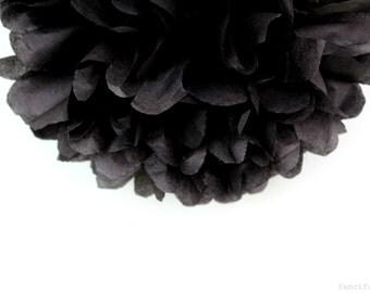 Black Tissue Paper Pom Poms- Wedding, Birthday, Bridal Shower, Baby Shower, Party Decorations, Garden Party