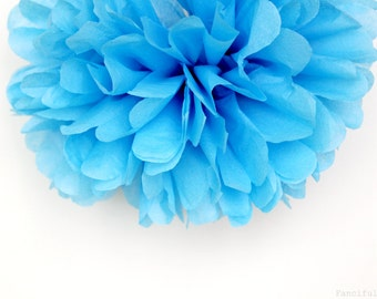 Pacific Blue Tissue Paper Pom Poms- Wedding, Birthday, Bridal Shower, Baby Shower, Party Decorations, Garden Party
