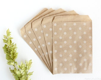25 White Polka Dot Brown Flat Kraft Paper Bags 4X5.25 inch