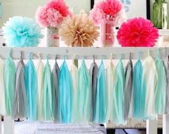 Aqua, Mint Green, Cream, Grey Tissue Paper Tassel Garland- Wedding, Birthday, Bridal Shower, Baby Shower, Garden Party Decorations