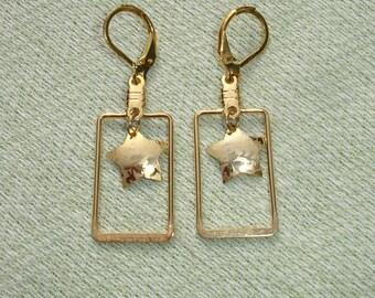 Golden Star Rectangular Dangle Earrings - FREE Shipping