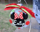 Personalized 4 inch Mickey or Minnie Mouse Christmas Ornament in lime and red