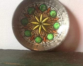 Glass dish starburst mid century modern organizer dresser dish Mod Colorful Glass Jewelry Dish