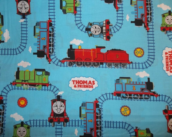 Thomas the train and friends railroad tracks blue 2009 cotton for Train fabric by the yard