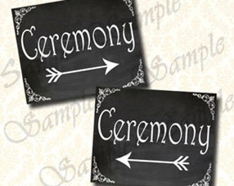 Ceremony Wedding Signs, Printable Chalkboard Directional Arrows Signs, Ceremony This Way, 8x10