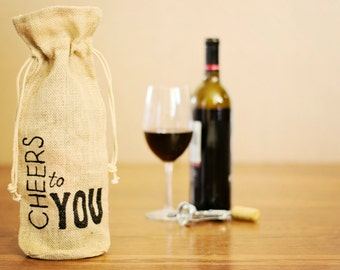 Burlap Wine Gift Bag /  Wine Bag / Hand Painted Gift Bag / Cheers to You