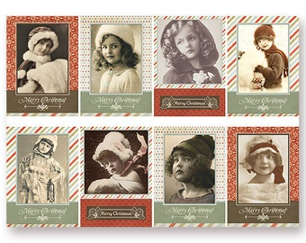Printable Christmas Vintage Children Tags ATC Cards as an instant Digital Download File by Jodie Lee