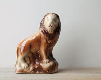 Vintage lion figurine / whimsy / honey brown / tan / red / retro kitsch home decor / wild cat / den desk decor / collectible man cave decor