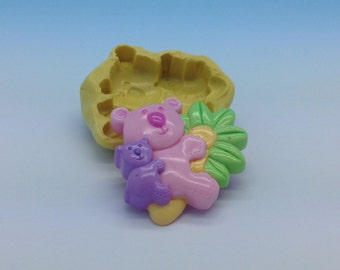 Bear Panda Flexible Silicone Push Mold for Polymer clay, ,cold porcelain,Resin,Wax, Food,Sweets,fimo,chocolate.