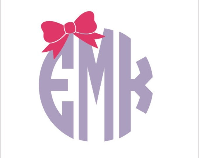 Monogram With Bow Car Decal Circle Block Monogram Car Decal Preppy Car Window Decal Personalized Custom Decal Everything Else