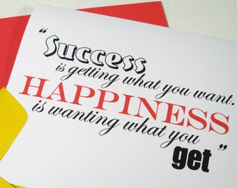 Happiness Is Card - Note - Birthday Retirement - Success Wisdom - Greeting - Graduation - Job Promotion - Ingrid Bergman Quote - IB103