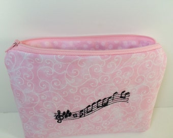 Pink Music Zippered Pouch