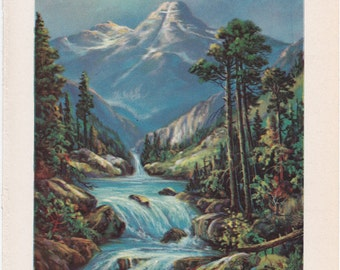 vintage illustration of the Rocky Mountains of Colorado from 1942