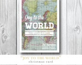 Joy to the World / Map / The Lord is Come / Custom Christmas / Holiday / Travel card / Photocard by Darby Cards