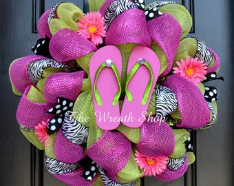Summer Flip Flop Wreath in Lime Green Pink and Zebra - Spring Mesh Wreath - Summer Wreath - Spring Wreath - Pink Green Black and White